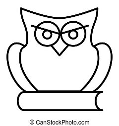 Owl on book line icon, e learning and education, knowledge sign vector graphics, a linear pattern on a white background, eps 10.