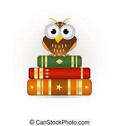 owl on books icon