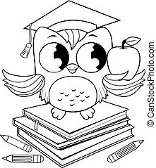 Owl on books with graduation hat coloring book page.