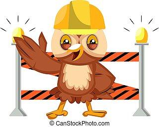 Owl on construction yard, illustration, vector on white background.