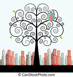 Owl on Curled Tree with City on Background Vector Flat Design Illustration