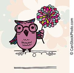 Owl on holiday background