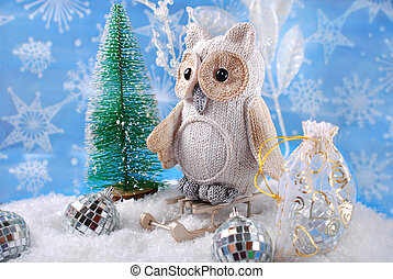 owl on sledge with gifts for christmas