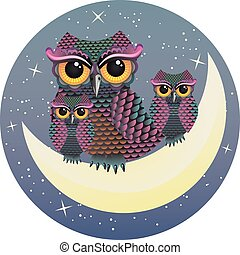 Owl and the moon,,line art ready for your design work or ...