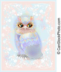 owl on the floral background