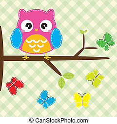 Owl on the tree branch