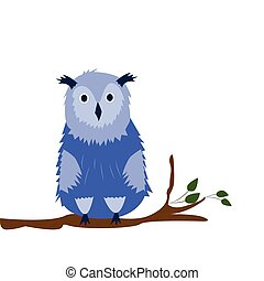 Owl  on the white background. Hand drawn illustration.