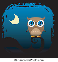 Owl on tree branch with moon