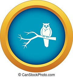 Owl on tree icon blue vector isolated