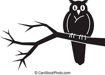 Owl on tree icon, simple style