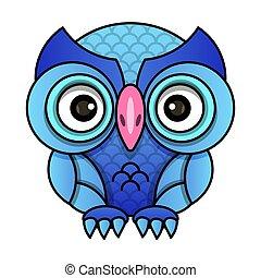 Owl or owl bird sketch vector isolated icon.