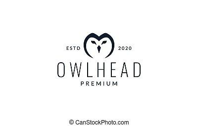 owl or owlet head line modern logo vector illustration design