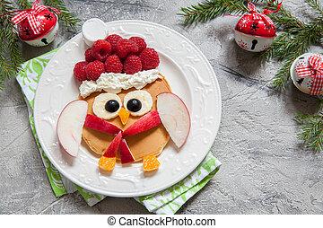 Owl pancake for Christmas breakfast
