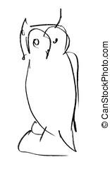 Owl. Pencil sketch.
