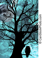 silhouette of an owl perched in an ancient tree on a bright cold moonlit night