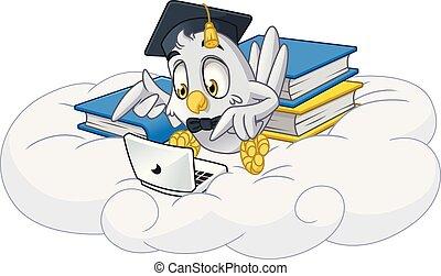 Owl playing laptop with graduation cap mascot cartoon character design vector illustration