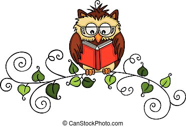 Owl reading a book on branch