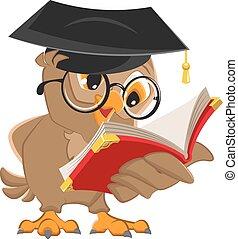Owl reading a book. Vector cartoon illustration