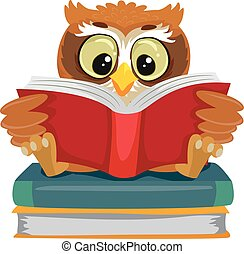 Owl reading and sitting on the Book