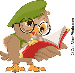 Owl reading book scout. Isolated on white vector...