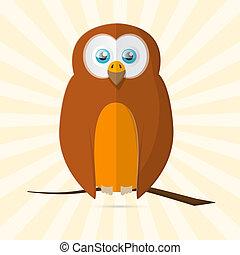 Owl Retro Vector Paper Illustration