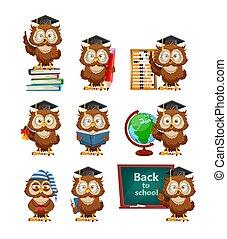 owl., rigolote, dos, école, hibou, sage, concept, mignon