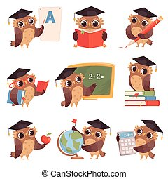 Owl school. Teacher birds characters teaching reading writing owls cartoon collection