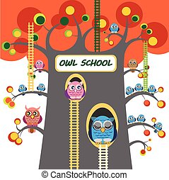 Owl School Tree with ladders and lot of owlets on branches of great autumn tree.  Big owl  sleep in tree hole. Autumn day. Cute cartoon owl.