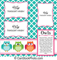 Owl scrapbooking template with banner or bunting