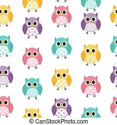 Owl Seamless Pattern Background Vector Illustration