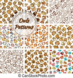 Owl seamless pattern background with brown bird