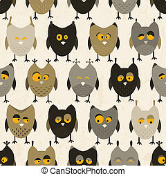 Owl seamless pattern. Vector background.