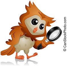 Owl Search - Owl using Magnifying Glass with Clipping Path