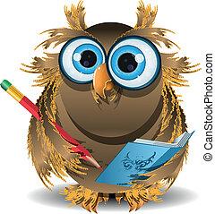 owl secretary - illustration wise owl secretary with blue...