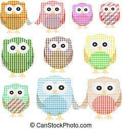 owl set isolated on white