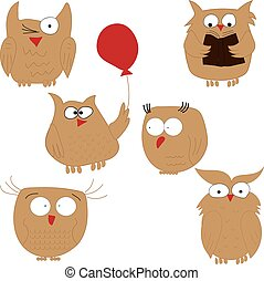 Owl. Set of funny owls