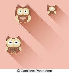 owl set, vector illustration