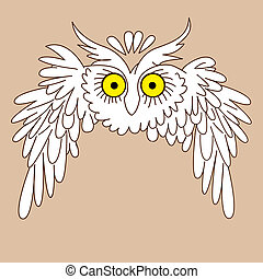 owl silhouette on yellow background