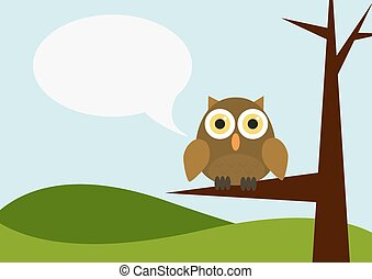 Owl siting on a tree with speech bubble
