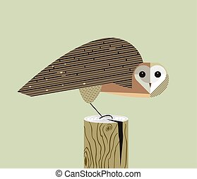 Owl sits on the stump