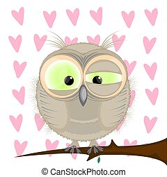 owl sitting on a branch. cartoon vector illustration.