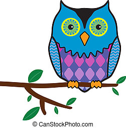 owl sitting on a tree branch - illustration of funny owl...