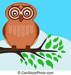 Owl sitting on a tree branch with green leaves, spring day