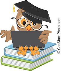 Owl sitting on books and holding a laptop. Illustration in...