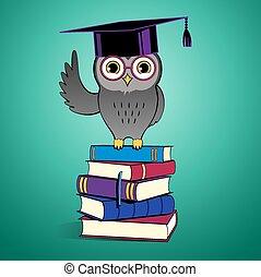 Owl sitting on books.