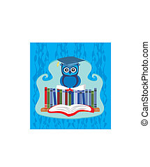 Owl sitting on books