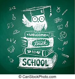 Owl sitting on books