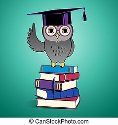 Owl sitting on books.