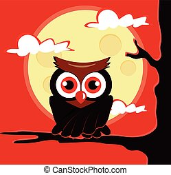 Owl sitting on tree