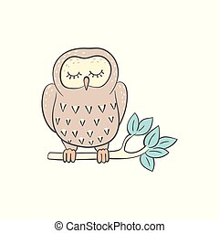 Owl sleeping on the tree branch cute doodle cartoon vector illustration isolated.